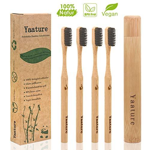 4er Pack Bambus Zahnbürsten mit Etui für Erwachsene Kinder, Yaature Holzzahnbürste mit Aktivkohle 100% BPA freie, Plastikfrei, Vegan, Umweltfreundlich für Weiße und Gesunde Zähne