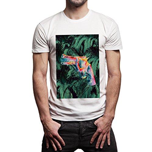 YOLO Gun Fire Jungle Fire One Background Herren T-Shirt Weiß