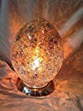 Egg Lamp - Large Gold Egg Shaped Mosaic Glass Table Lamp (LM74Y)