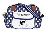 (Tiny but Mighty) Nappy Changing Bag, Stylish Laminated Water Resistance Multi-function Shoulder Baby Diaper Bag Portable Shopping Handbag with Changi