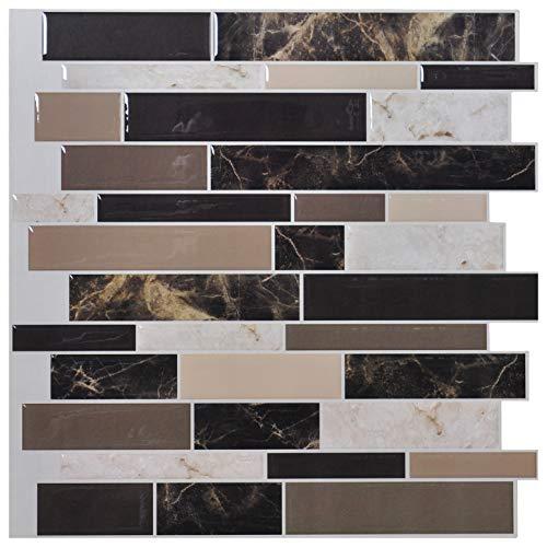 Art3d Fliesenrückwand zum Abziehen und Aufkleben - 30,5 x 30,5 cm Premium Anti-Schimmel-Küchenrückwand zum Abziehen und Aufkleben von Fliesen, Marmor -