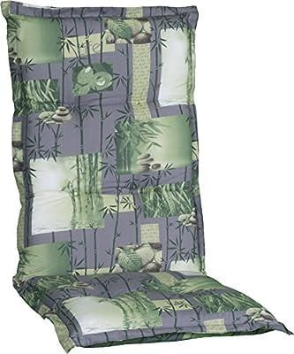 Gartenstuhlauflage Sitzkissen Polster Stuhlkissen für Hochlehner in in Grau grün mit Bambus und Gräser Motiven von beo auf Gartenmöbel von Du und Dein Garten