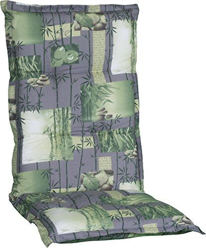 Gartenstuhlauflage Sitzkissen Polster Stuhlkissen für Hochlehner in in Grau grün mit Bambus und...