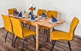 Wooden Nature Esstisch-Set ausziehbar 229 inkl. 6 Stühle (gelb), Buche Massivholz - 110-190 x 70 (L x B)