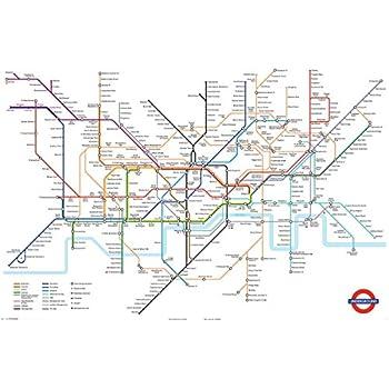 huge laminated london underground tube map poster