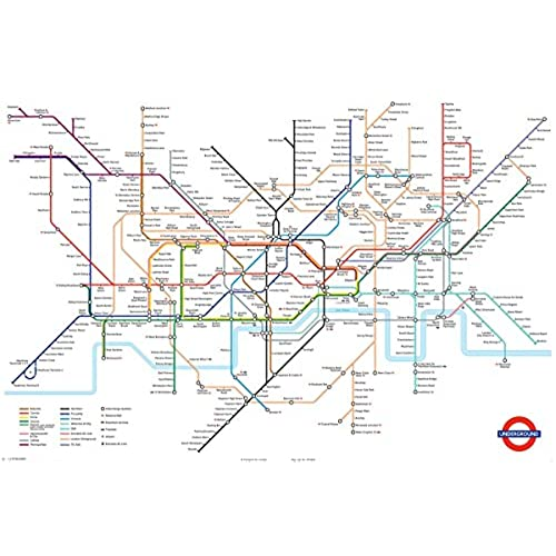huge laminated london underground tube map poster
