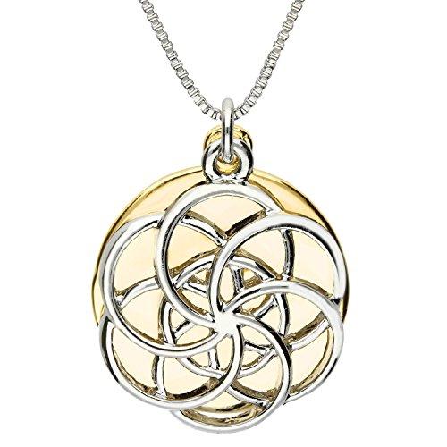 MYA art Damen Halskette Kette runde Platte mit zwei Lebensblume Blume des Lebens Anhänger Silber Gold Vergoldet Glitzer Rund MYAGOKET-17