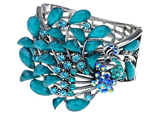 Alilang Damen Blau Strass Pfau Vogel Phönix Elegant Glitzer Armband Armreif