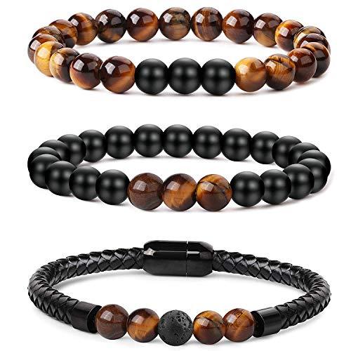 Yadoca 3 Pcs 8MM Stein Armbänder für Herren Damen Tigerauge Stein Lava Stein 7 Chakra Perlen Armband Elastische Schnur Magnetschnalle Armreif -