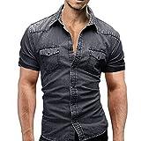 Ursing Herren Kurzarm Hemden Slim Fit Jeanshemd mit Tasche Freizeithemd Arbeitshemd Cowboy-Style Denim Shirt Sommerhemd Kurzarmhemd Mode Casual Herrenhemden Streetwear (Grau,M)