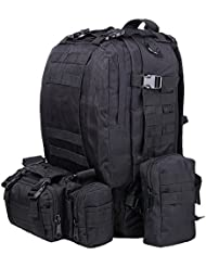 TTLIFE Hiking Backpacks Combined with 3 Dismountable Molle bags/Military Bag,Military Backpack,Military Rucksack,Rucksack Military,Camouflage Backpack,Tactical Backpack For Camping,Trekking 55L(Camouflage/Black/ACU/Khaki)