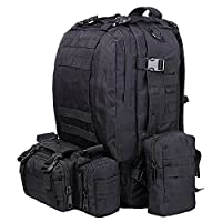 TTLIFE 55L Hiking Backpacks Combined with 3 Dismountable Multifunctional Molle Pouchs/Military Bag,Military Backpack,Military Rucksack,Rucksack Military,Camouflage Backpack,Tactical Backpack For Camping,Trekking(Black)