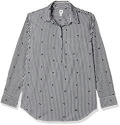 GAP Womens Striped Regular Fit Cotton Shirt (92483867000_Black Stripe_Medium)