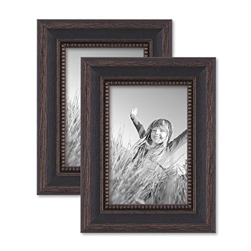 Juego de 2 marcos 10x15 cm marrón oscuro, estilo casa rural, madera maciza con cristal y accesorios / marco de fotos / añejo chic