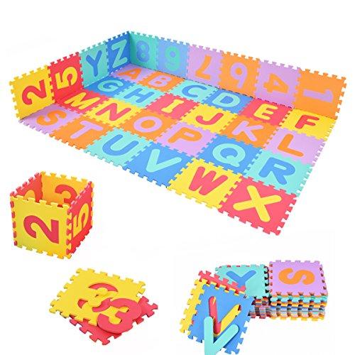 COSTWAY 86tlg. Puzzlematte Spielmatte Kinderteppich Spielteppich Schaumstoffmatte Steckmatte Bodenmatte Kindermatte Lernteppich schadstofffrei