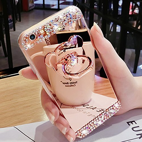 iPhone 8 Custodia, iPhone 7 Cover, iPhone 8 / 7 4.7 Custodia Cover TPU, JAWSEU Moda Specchio Riflessione Bling Custodia Cover per Apple iPhone 8 Copertura Case Anti-Graffio Antiurto Morbida Gel Silico Orso Oro Rosa