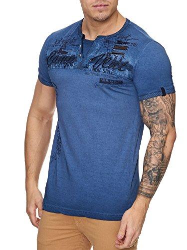 Herren Washed Polo Camp Kurzarm Shirt Clubwear T-Shirt V-Neck Blau
