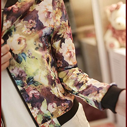 OverDose Damen Stehkragen Langarm Zipper mit Blumenmuster Bomberjacke Kurzmantel Multiocolor