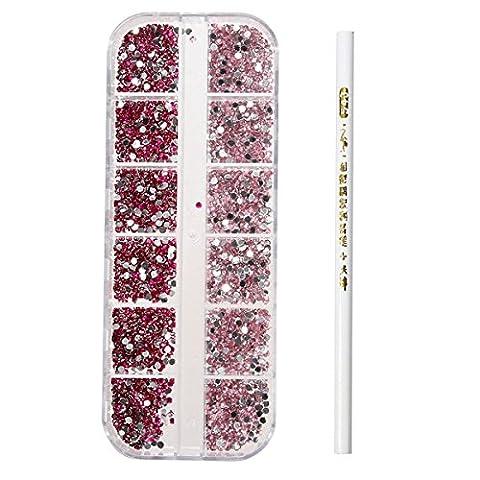 Bluelover 3D runde Glitter Rhinestone Perle Wachs Picker Bleistift Diamant Edelsteine ??Maniküre Nail Art Tool # 07
