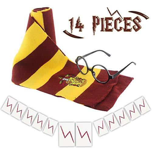 Wuree Neuheit Scarf Wizard Gläser mit Round Frame Keine Linsen 12 Stück Lightning Bolt Tattoos für Kinder Halloween Geburtstagsparty Cosplay Kostüm Zubehör