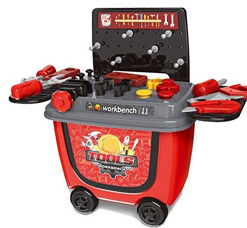 ❎ Werkstatt Rollwagen Kinderwerkbank mit Spielzeug Werkzeug, 28 Teile ❎ thumbnail