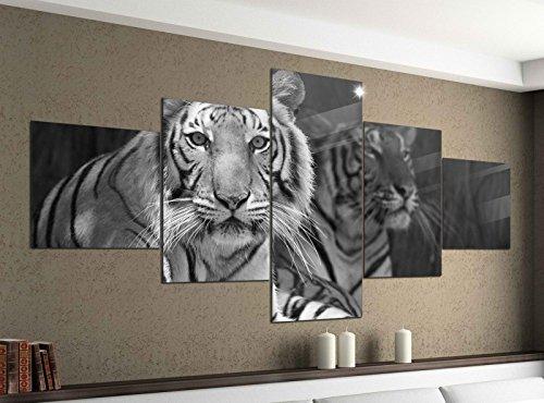 Leinwandbild 5 tlg. 200cmx100cm Tiger Augen Tier Kopf Raubkatze schwarz weiß Bilder Druck auf Leinwand Bild Kunstdruck mehrteilig Holz 9YA1475, 5Tlg 200x100cm:5Tlg 200x100cm