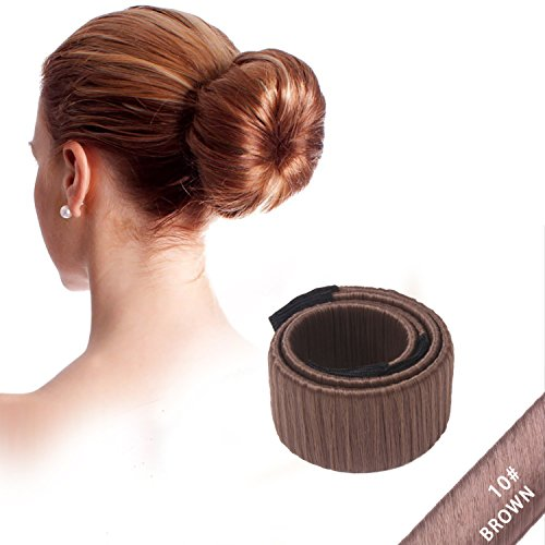 NALATI Fashion Hair Styling Disk Hair Donut Former Foam French Twist Magic DIY Tool Bun Make(Brown)