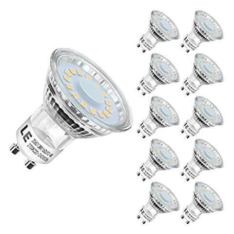 LE 10 Pack GU10 LED Light Bulbs, 50W Halogen Bulbs Equivalent, MR16 4W, 350lm, Warm White, 2700K, 120° Beam Angle, Recessed Lighting, Track Lighting