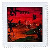 3dRose Beautiful Scenic Asiatische Landschaft, Vögel,