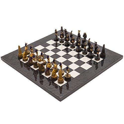 The Regency Chess Company Ltd Ancient Ägypten Handbemalt stilisiert Luxus Dunkelgrau Schach festgelegten italfama