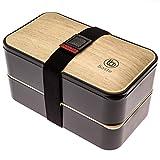 Bento Baste Original negro - Lunch Box con 2 compartimentos cierre hermético y sus cubiertos,...
