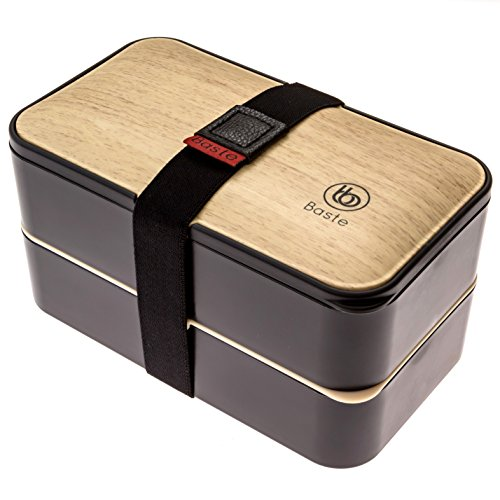 Bento-Baste-Original-Noir-Lunch-Box-avec-2-compartiments-Hermtiques-et-leurs-Couverts-Durable-cette-boite–lunch-Convient-aux-Enfants