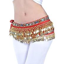YuanDian Mujer coloreados diamantes Monedas Danza Del Vientre Espectáculo Bufanda Cinturon Cintura Cadena Falda trajes De
