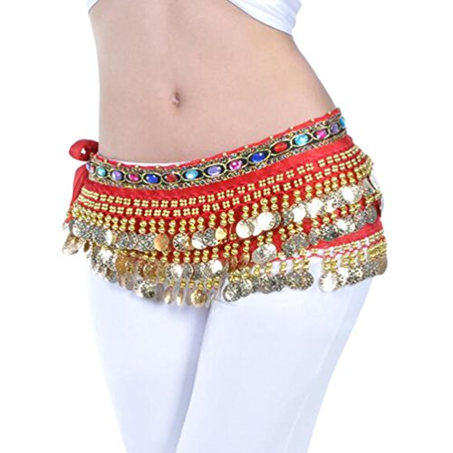 YuanDian Mujer coloreados diamantes Monedas Danza Del Vientre Espectáculo Bufanda Cinturon Cintura Cadena Falda trajes De Belly Dance Rojo