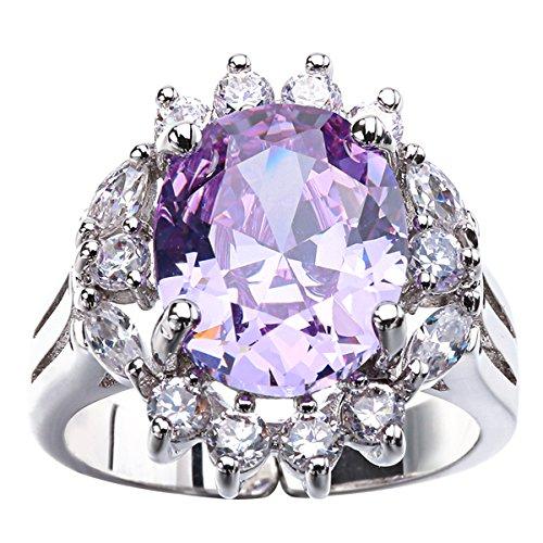 LF anello di ottone viola luce zircone costruire anelli di pietre preziose gioielli viola abbigliamento (Quarzo Rosa Enhancer)
