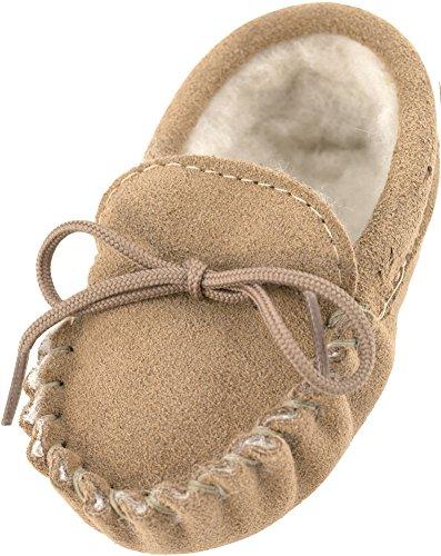 Schaffell Wildleder Mokassins (Lambland echte Mokassin Hausschuhe aus Wildleder und Lammwolle für Babys - Größe 0-6 Monate)