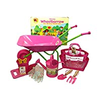 Little Pals Childrens Pink Wheelbarrow & Gardening Tool Set with Watering Can, Gloves, Trowel and Fork, Kneeler in Carry Bag