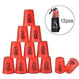 Stacking Cups de PP con Tutoriales Sport Stacking 1 Bolsa +1 Polo Portátil para Guardar Desarrolla la Habilidad y la Destreza (rojo)