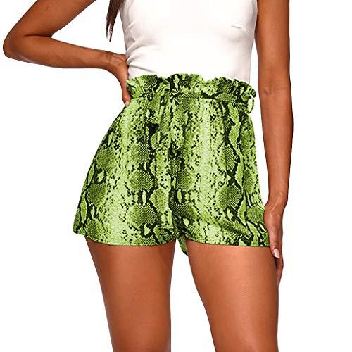 NHNX Damen Short Lady Pants Plus Size Frauen Casual Gummiband Gürtel Snake Print Mini Lässige Damenhose Mit Schlangenmuster Und Sexy - Dark Leopard-print-hose