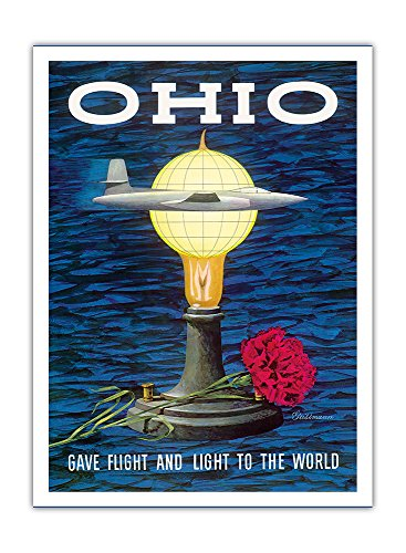 Price comparison product image Ohio USA - Gave Flight and Light to the World - Birthplace of Thomas Edison, Wright Brothers - Vintage World Travel Poster by Robert Geissmann c.1960s - Premium 290gsm Giclée Art Print - 12in x 16in