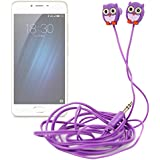 DURAGADGET Auriculares para niños estéreo con diseño de búho para smartphone Meizu m3e , M3S , m5 , Pro 6 , Pro 6s / Elephone P9000 , C1 , S7