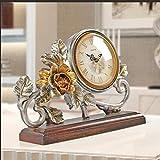 GCCI Tischuhr im europäischen Stil Gartenuhr ruhig Palace Court Uhr romantisch floral Stil Glocke klassische kreative Uhr