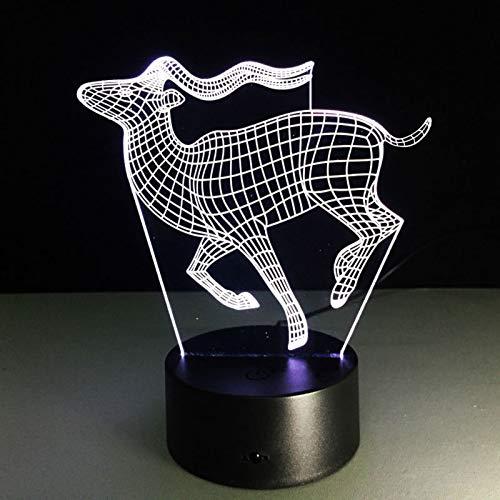 3D führte Nachtlicht Laufende Hirsche 7 Farbe Fernbedienung Note Schlafzimmer Lampe Hauptdekoration, Kinder Weihnachtsgeschenk