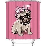 LA&NA Decoración para perros de dibujos animados impermeable y resistente al moho tejido de poliéster cortina de ducha de baño conjunto con ganchos , 180*200cm