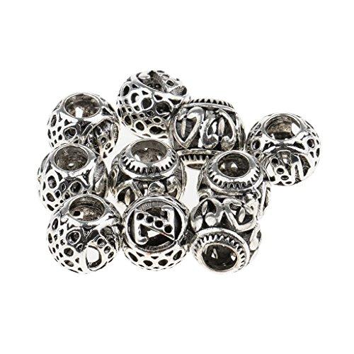Non-brand Nicht-Marken-Armbänder für Dreadlocks, silberfarben, 10 Stück, 10 Pieces