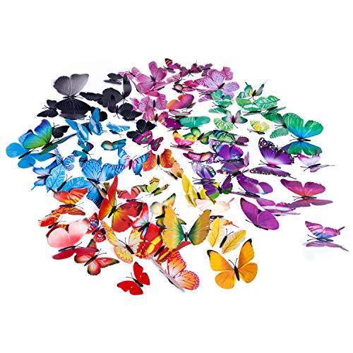 YHmall 96 Stücke 3D Schmetterlinge Wanddeko Aufkleber Wandtattoo 3D Kunststoff Schmetterling Dekorationen (12 Rot, 12 Blau, 12 Gelb, 12 Grün, 12 Lila, 12 Schwarz, 12 Hellviolette) MEHRWEG (Gelbes Schmetterlings-wand-aufkleber)