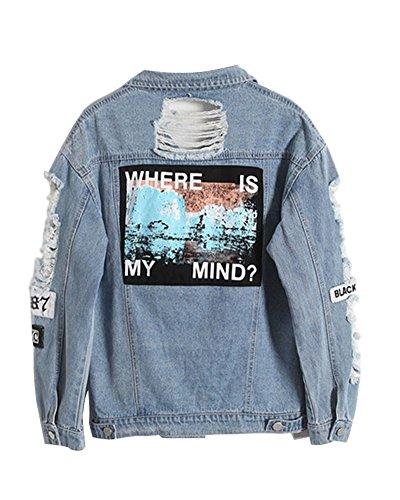 Minetom Damen Casual Jeansjacke mit Patches Blouson Knopfverschluss Cut-Outs Denim Jacket Jeans-Jacke F Blau DE 42