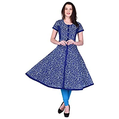 Beautiful Blue Floral Printed Anarkali Cotton Kurti From the House of Palakh - Blue Pattern:Floral Printed