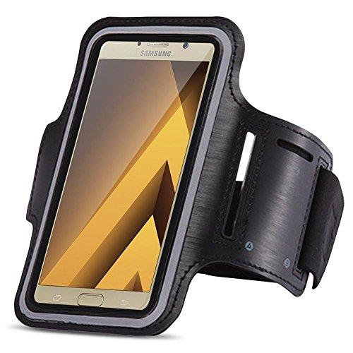 Samsung Galaxy A5 2017 Jogging Tasche Handy Hülle Sportarmband Fitnesstasche Bag, Farben:Schwarz