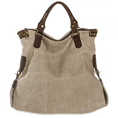 CASPAR - Grand sac vintage unisexe - Sac cabas en cuir et toile stylé - Plusieurs coloris - TL706